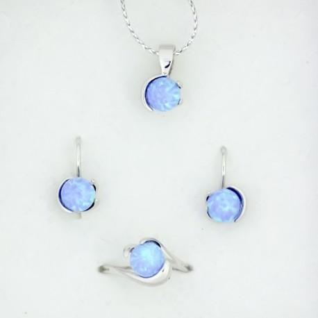 Souprava s modrým syntetickým opálem