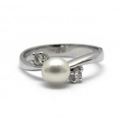 Prsten s perlou a brilianty