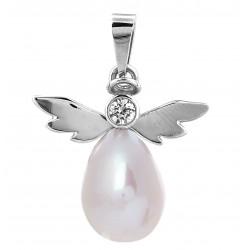 Přívěs anděl s perlou a briliantem