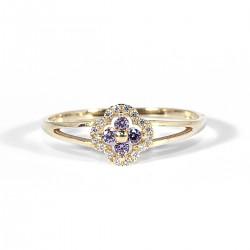 Prsten květ s fialovými zirkony