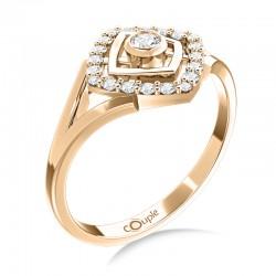Prsten Kostka z růžového zlata